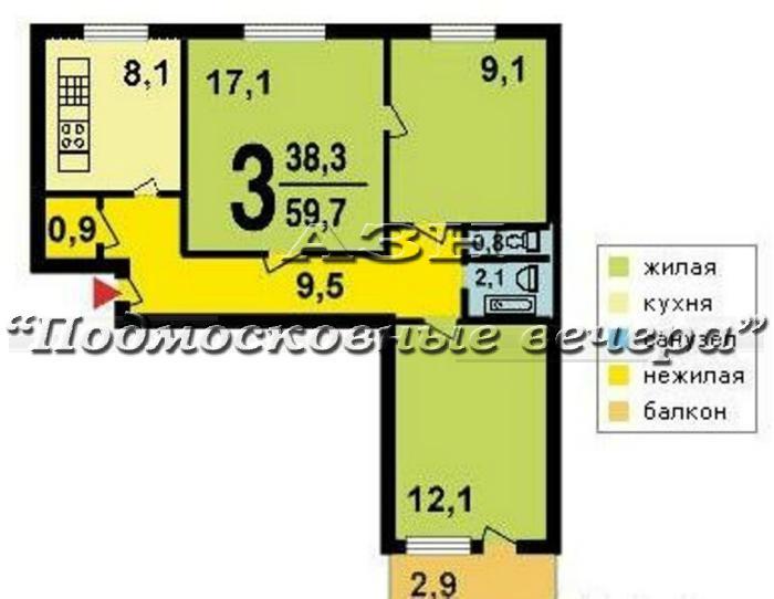 М. домодедовская, воронежская улица, 8к3 / 3-комн. квартира .